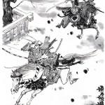 00050-加藤敏郎「源義平と平重盛の一騎討ち」 100,000 円